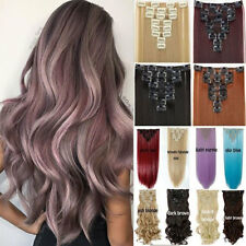 100% Real Natural Ladies Full Head Long Piece Clip In Hair Extension Extensions