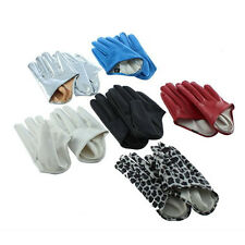 1 Pair Women's Five Finger Half Palm Faux Leather Soft Gloves Mittens Vendible