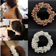 Fashion Girl Elastic Hair Rubber Band Pearl Rope Scrunchie Ponytail Holder