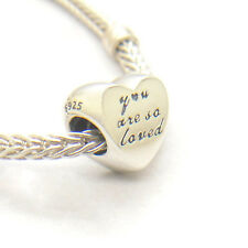 Authentic Genuine S925 Sterling Silver You Are So Loved Heart Charm