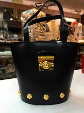BRAND NEW - Authentic Salvatore Ferragamo Leather Handbag with Gold Buttons