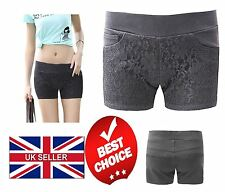 Womens Ladies Lace Front Shorts 3 Pockets Stretchy Hotpants Pants