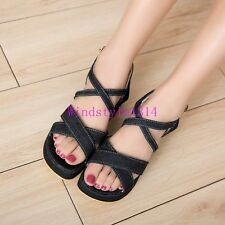 Casual Girls Womens Open Toe Sandals Cross Ankle Strap Shoes Canvas Flat Heel SZ