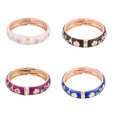 Woman Flower Pattern Spring Closure Cloisonne Chinese Style Bracelet Bangle