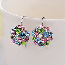 Women Colorful Zircon Silver Tone Eardrop Earrings Wedding Party Jewelry Exotic