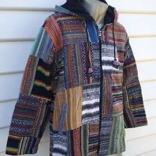 Nepalese Fleece Lined Cotton Patched Hippie Hooded Long Sleeve Medium Jacket