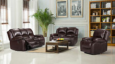 New Luxury Valencia Bonded Leather Recliner Sofa Suite All Seaters - Brown