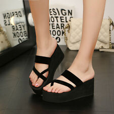 Women Summer High Heel Wedges Platform Beach Flip-flops Sandals Slippers Shoes