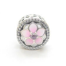 Authentic Genuine S925 Sterling Silver Magnolia Bloom Enamel CZ Bead Charm