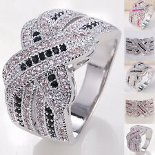 925 Silver Natural Pink Black&White Topaz Infinity Ring Jewelry Wedding Vintage
