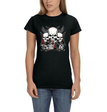 Iron Cross Three Skulls Wings Motorcycle Chopper Biker Women's T-Shirt Tee