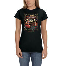 Route 66 Full Service With A Smile Pin Up Girl Hot Rat Rod Women's T-Shirt Tee