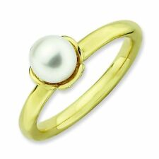 White Cultured Freshwater Pearl 18K Yellow Gold Plated Stackable Ring