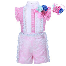 Girls Shirt and Shorts Set with Headband 3Pcs Flower Lace Princess Party Pageant