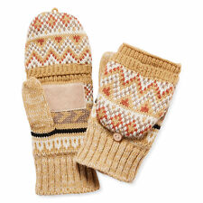 Isotoner Womens Mittens Flip Top Mittens Knit Sherpa Acrylic Camel One Size NEW