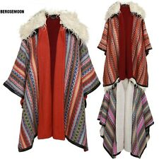 Finejo Bohemian Style Women Poncho Loose Cape Cloak Sweater Coat Warm B0N02