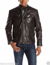 Men's genuine black Cow leather Jacket biker Bomber cowhide Coat = LJ1250