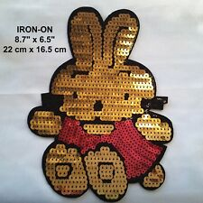 Gold Rabbit Easter Bugs Bunny Disney Sequin Embroidery Iron-On Applique Patch