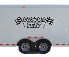 Custom Name Text Racing Checkered Flag Decal Personalized Kart Race Trailer RC77
