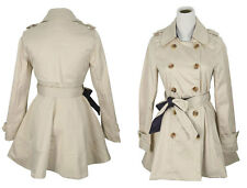 Women Double Breasted Lapel Crew Collar Trench Coat Belted Long Jacket Outerwear