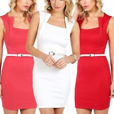Ladies Sleeveless Square Neck Belted Pencil Skirt Bodycon Womens Fancy Dress