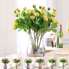 Artificial Silk Flowers Peony Bud 3 Heads Roses Bouquet Wedding Home Decoration