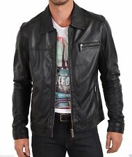 Men's genuine black Cow leather Jacket biker Bomber cowhide Coat = LJ1435