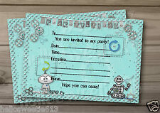 1-10 PERSONALISED ROBOTS BIRTHDAY PARTY INVITATIONS,THANK YOU OR BIRTHDAY CARDS