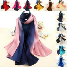 Ladies Silk Scarf Mixed Gradient Color Long Soft Sunscreen Wrap Shawl Stole New