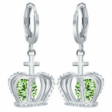 Women's Fashion 925 Silver Jewelry Crown Peridot Drop Dangle Earrings