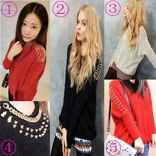 Womens Rock Embellished Spiked Studs Chain Batwing Shoulder Sweater Top Knit