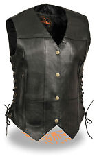 Motorcycle ladies biker 6 Pocket sexy Blk leather vest side laces & gunpockets