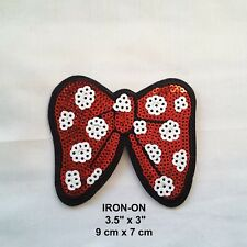 Red White Bow Knot Tie Red Sequins Embroidered Iron-on Emblem Patch Applique