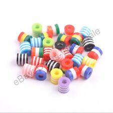 Mixed ZEBRA & STRIPE ACRYLIC Cylinder Mixed  Spacer Beads 8.5x8.5MM