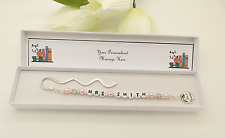 Nursery Teacher Gift. Personalised Pink Bookmark Gift.End Of Term. Thank You.