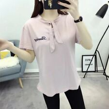 New Womens Ladies Letters Embroidered Short Sleeve Blouse Tops T-Shirt Tee SML