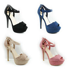 NEW WOMENS LADIES STRAPPY PLATFORM PEEP TOE HIGH HEEL SHOES SANDALS SIZE 3-7