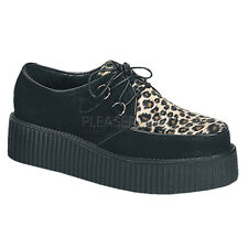 Demonia Creeper-400 Platform Shoes - Gothic,Goth,Punk,Black,Leopard Print,Buckle