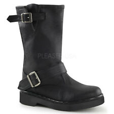 Demonia Rival-302 Black Vegan Leather Biker Boots - Gothic,Goth,Punk,Black,Buckl