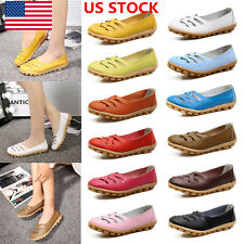 Women Leisure Flats Shoes Pea Shoes Leather Hollow Out Slip-on Oxfords Shoes