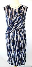 NEW PLANET Dress 14 Jersey Blue Navy Drape Pleat Cocktail party Wedding rrp £99