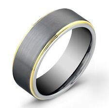 8mm Men Tungsten Carbide BRUSHED Center With Gold Plated Edges Wedding Band Ring