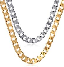 Mens Thick Stainless Steel 24k Gold Plated Cuban Link Chain Charm Long Necklace