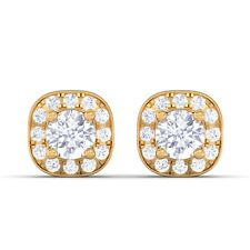 0.29ct EF VVS Small Round Diamond Halo Stud Earrings Women 18K Solid Gold