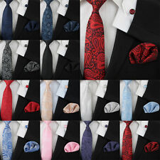 Wedding Floral Paisley Tie Silk Mens Necktie Pocket Square Cufflinks Set Gift