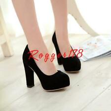 Womens faux suede chunky high heels round toe platform pumps dress party shoes