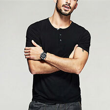 Hot!!! Mens Smooth Casual Henley T-shirt Viscose Soft Solid Basic Tee 5 Colors