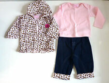 BEAUTIFUL BABY GIRLS  3 PIECE TSHIRT TROUSER JACKET  OUTFIT SET  6 TO 12 MONTHS