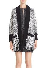 "NWT $1295 Burberry Women ""Glasshouse"" Chevron Fringe Graphic Wool Cardigan (M)"