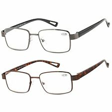 2 Pair Metal Readers Rim Reading Glasses for Men and Women for Reading